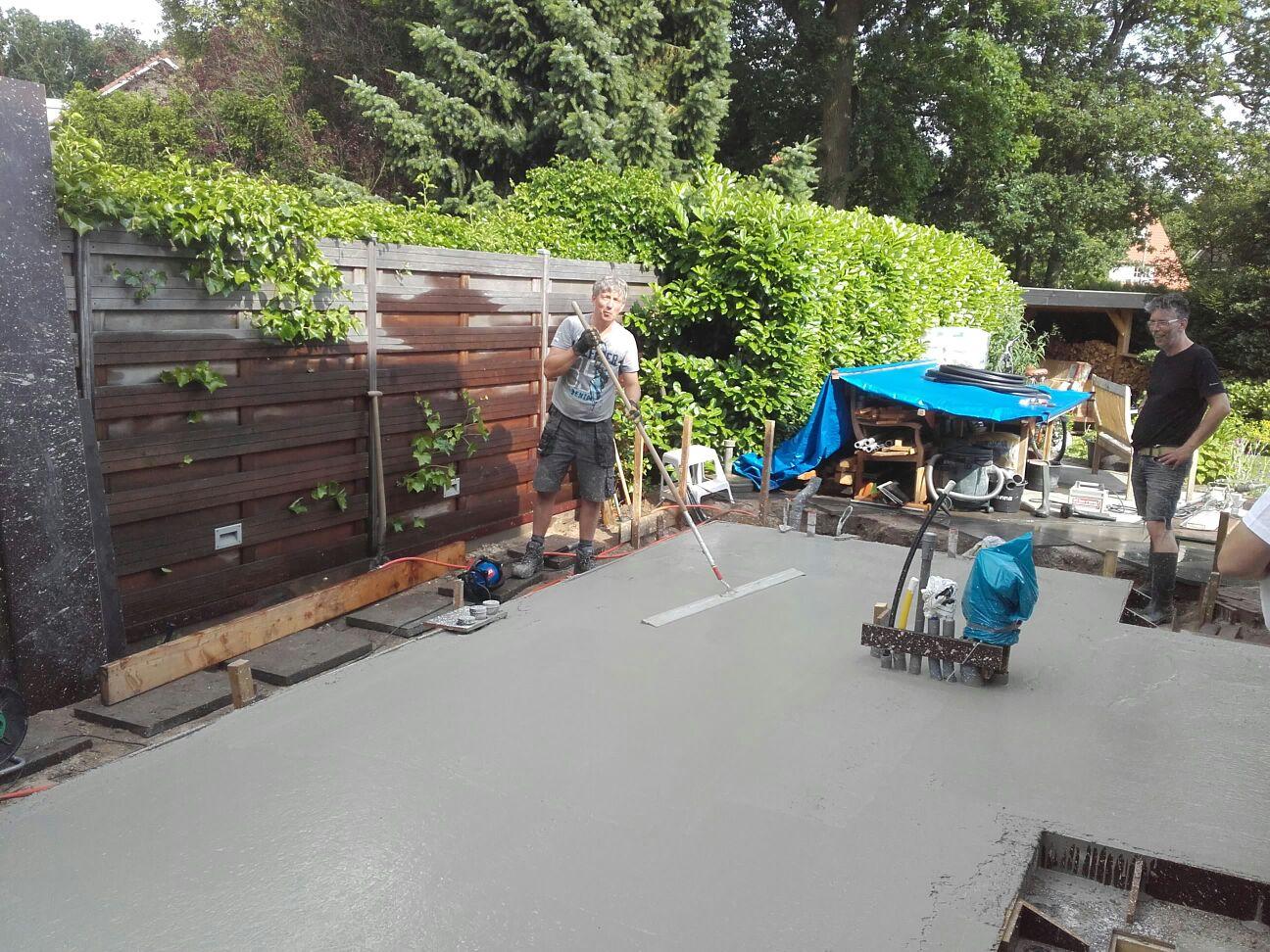beton storten in de tuin