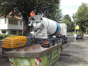 Mixer klaar om beton te storten